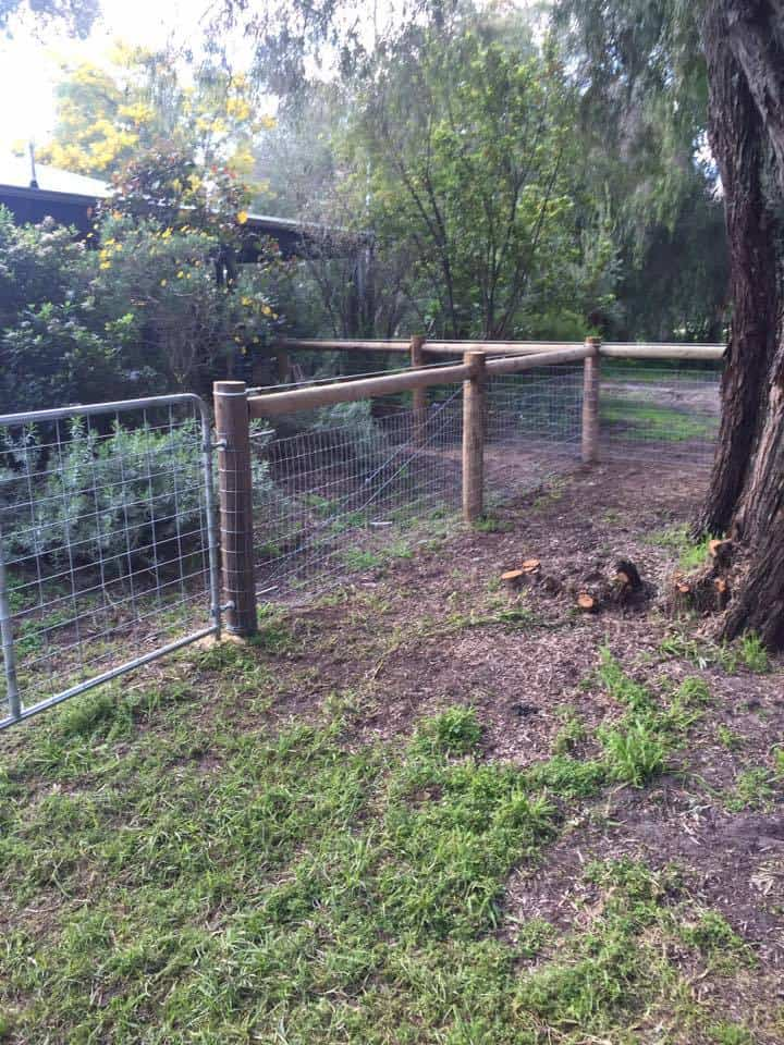 Stock fence with top timber rail-Dunsborough-Busselton-Vasse-Quindalup-Eagle Bay-Cowaramup-Margaret River and Yallingup-0418 903 281